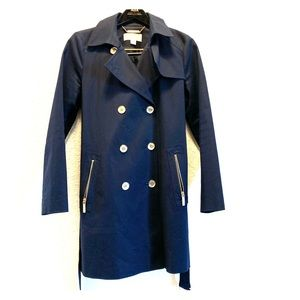 Michael Kors Double Breasted Navy Blue Trench Coat